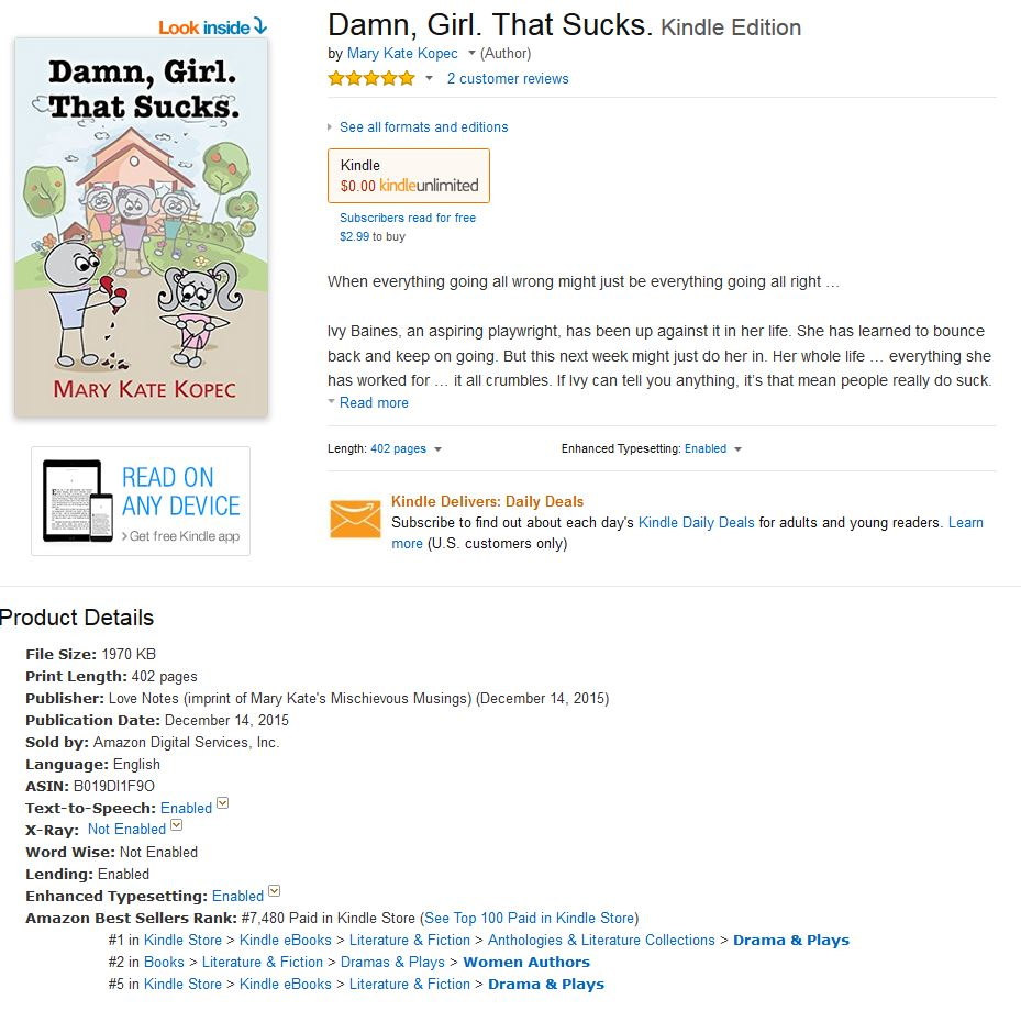 *Damn, Girl. That Sucks.* Amazon Best Seller